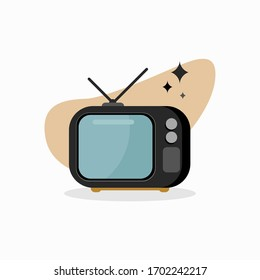 Retro Television Illustration with Black Color. Vintage TV - EPS 10 Vector