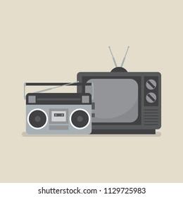Retro television and radio. Vector illustration