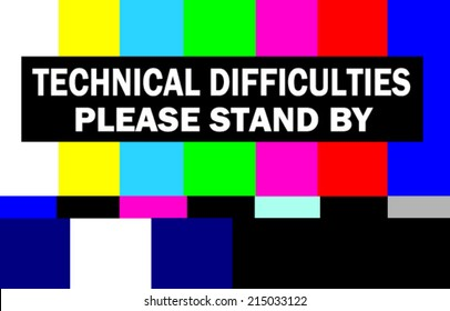 retro television test pattern with please stand by technical difficulties warning