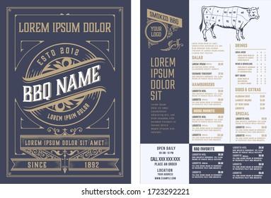 Retro template for  restaurant menu design. Vector layered.