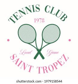 Retro Tennis Club Vector Art Fashion Illustration. Vintage Tennis Racket Slogan T shirt Print Design.