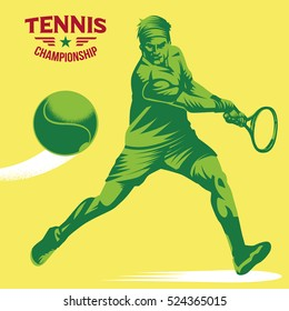 Retro tennis player vector illustration. Isolated artwork object. Suitable for any print and on-line media need.