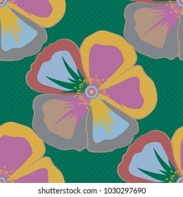 Retro textile design collection. 1950s-1960s motifs. Autumn colors. Abstract seamless vector pattern with hand drawn floral elements. Silk scarf with cosmos flowers in yellow, green and pink colors.