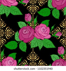 Retro textile design collection. 1950s-1960s motifs. Autumn colors. Abstract seamless vector pattern with hand drawn floral elements. Silk scarf with rose flowers and green leaves on black background.