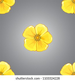 Retro textile design collection. 1950s-1960s motifs. Autumn colors. Abstract seamless vector pattern with hand drawn floral elements. Silk scarf with cosmos flowers in orange, gray and yellow colors.