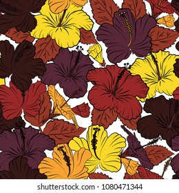 Retro textile design collection. Autumn colors. Silk scarf with hibiscus flowers in brown, yellow and black colors. Abstract seamless vector pattern with hand drawn floral elements. 1950s-1960s motifs
