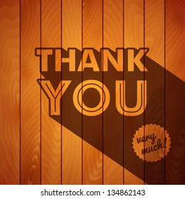 Retro thank you poster on a wooden background. Vector image.