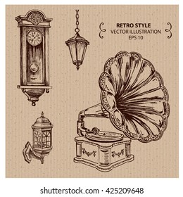 Retro things - gramophon, old clock, lights. Hand drawn vector illustration