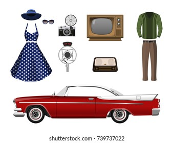 Retro things. Set of vintage objects on white background. Old fashion 60's. Icons of cars, clothes and electronics. Vector illustration