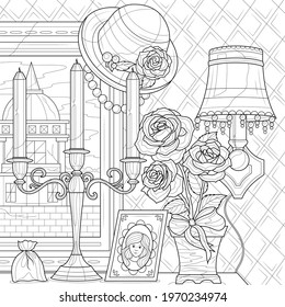 Retro things.Painting, candles and bouque of roses.Coloring book antistress for children and adults. Illustration isolated on white background.Zen-tangle style. Hand draw