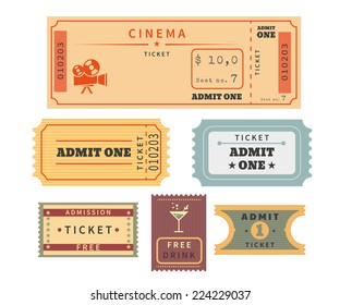 Retro ticket template set. Template vector illustration of cinema ticket stub and other events admission. Old paper stub isolated on white background