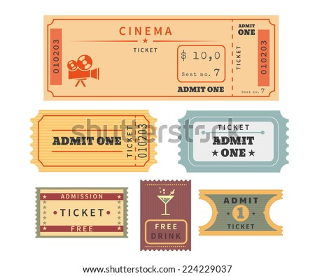 retro ticket template set template vector のベクター画像素材