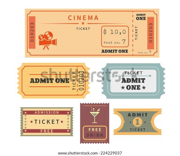 レトロチケットテンプレートセット 映画館のチケットスタブや他のイベントが入場する場合のテンプレート ベクターイラスト 白い背景に古い紙のスタブ のベクター画像素材 ロイヤリティフリー