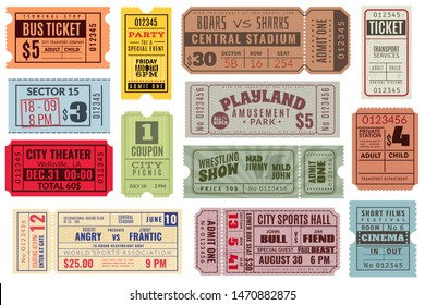 Retro tickets. Vintage cinema ticket concert and festival event, movie theater coupon. Circus show, raffle paper voucher carnival invite or train ticketing vector set