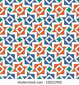 Retro Tiles Pattern Inspired by Islamic Geometric Art
