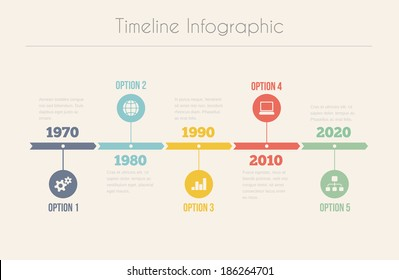 Retro Timeline Infographic, Vector design template
