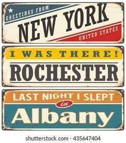 Retro tin sign collection with USA city names. Vintage vector souvenirs or postcard templates.