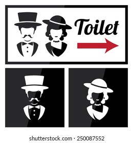 Retro Toilet and Restroom Sign
