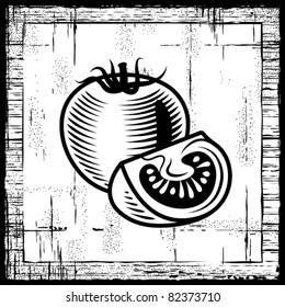 Retro tomato black and white. Vector