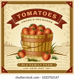 Retro tomato harvest label with landscape. Editable EPS10 vector illustration in woodcut style with clipping mask and transparency.