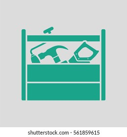 Retro tool box icon. Gray background with green. Vector illustration.