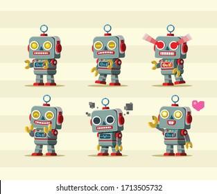 Retro Toy robot mascot character set