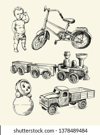 Retro toys drawn by hands on a beige background