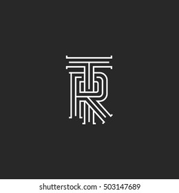 Retro TR logo monogram, overlapping thin line hipster capital letters T R combination logotype mockup, wedding initials RT idea emblem