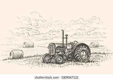 Retro tractor in field hand drawn illustration. Vector.
