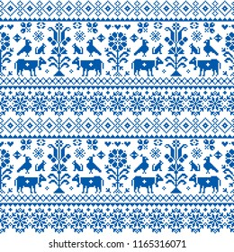 Retro traditional cross-stitch vector seamless pattern - repetitive background inspired Swiss old style embroidery with flowers and animals. Navy blue symmetric floral decoration with birds, cows