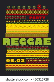 retro traditional decorative pattern. reggae color music background. Jamaica poster vector illustration