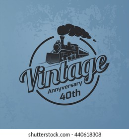Retro train logo on blue grunge background. Vintage locomotive label.