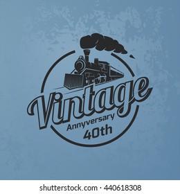 Retro train logo on blue grunge background. Vintage locomotive label.