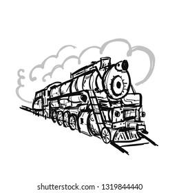 Retro train, sketch for your design