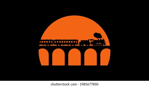 Retro train with steam locomotive. Black silhouette on the sunset background. Vector illustration
