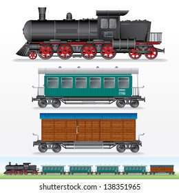 Retro Train. Vector Image of Steam Lokomotive with Railway Cargo Waggon and Passenger Car. Side View Illustration