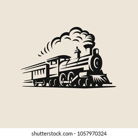 Retro train, vintage emblem, label Vector illustration
