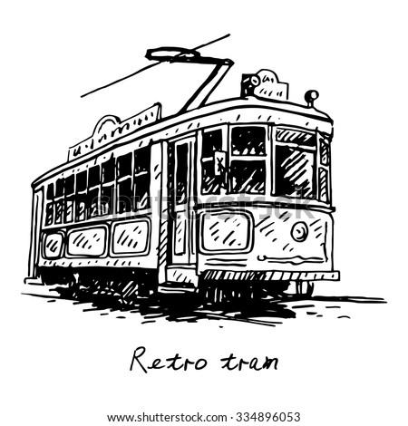 90fca762f942 Stock vektory na téma Retro Tram Picture Old Transport Vector (bez ...