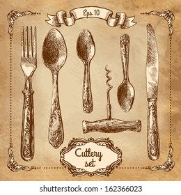 Retro transparent silverware icons sketch style illustration. Vector file layered for easy editing.