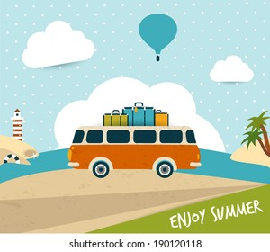 Retro travel bus concept. summer holiday. Vector background.