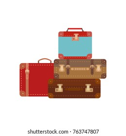 Retro travel luggage icon collection. Colorful flat cartoon. Tourist trip journey symbol. Vacation advertisement banner element. Design of vintage emblem transportation business. Vector illustration