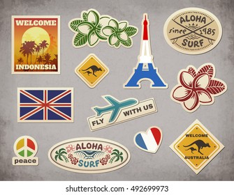 Retro travel luggage stickers vector set on grunge background