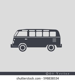 Retro travel  van icon. Surfer van. Vintage travel car. Old classic camper minivan. Retro hippie bus. Vector illustration in flat design