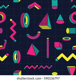 Retro and Trendy Geometric Shape Memphis Design Seamless Pattern. Wallpaper Background