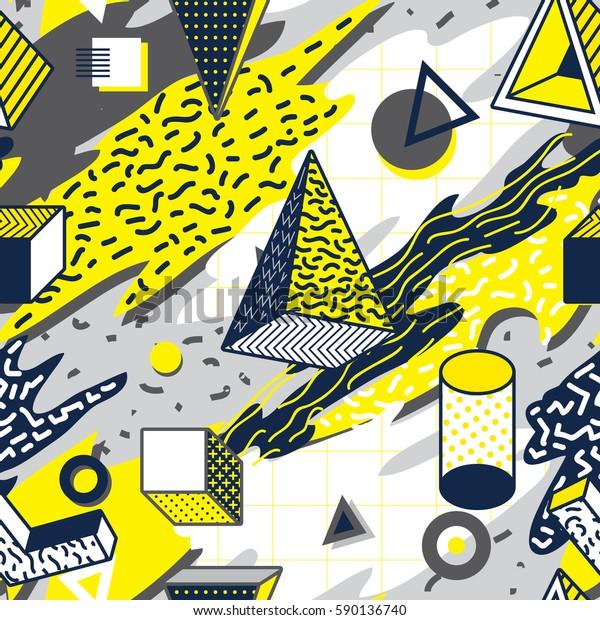 Retro and Trendy Geometric Shape Memphis Design Seamless Pattern. Wallpaper Background