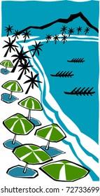 Retro Tropical Beach Tourist Outrigger Canoe Race in the Lagoon Vector Illustration