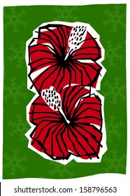 Retro Tropical Christmas Hibiscus Flowers Vector Illustration