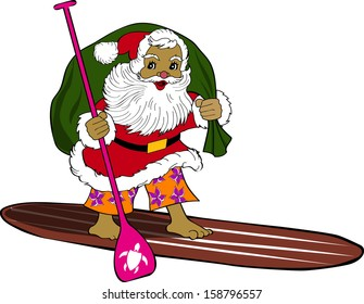 Retro Tropical Christmas Surfing Santa on Standup Paddleboard Vector Illustration