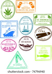 Retro Tropical and Exotic Caribbean Beach Island Passport Stamps Set Vector Illustration