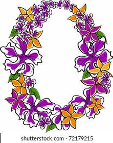 Retro Tropical Flower Lei Vector Illustration